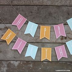Print your own adorable paper birthday banner with this downloadable design from handcrafted lifestyle expert Lia Griffith.
