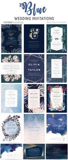 Minted blue wedding invitations