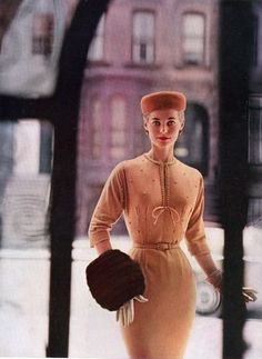Edie New York, loves how elegant she is Vogue 1956. Fur muff . 1950s fashion - Divine!. simple make up. fitted dress. small waist.