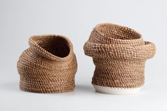 Wicker + ceramic vessels by Eneida Tavares