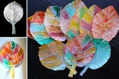 Bricolage avec des filtres à café - fausses feuilles d'automne                                                                                                                                                      Plus