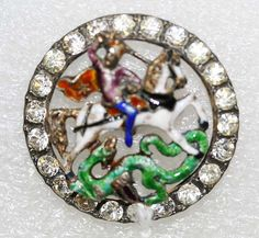 St. George & the Dragon Button -- French c. 1785 - metal, enamel & strass -- at the Met