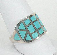 Native American Turquoise Ring Tom Cowboy Navajo Sterling Silver