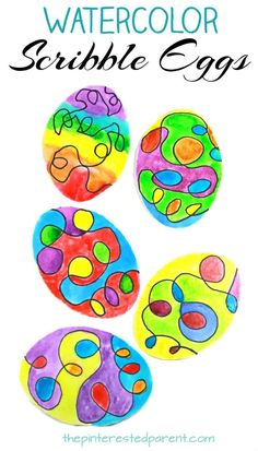Watercolor scribble Easter eggs. A fun process art project for the kids. Arts and craft projects for the spring. #artsandcrafts