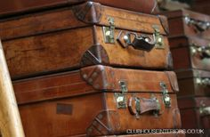 Collection of Vintage Brown Leather Suitcases with Brass Catches and Locks. Vintage Leather Cases, Vintage Leather Luggage. - Clubhouse Interiors