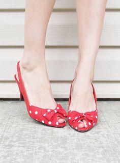 vintage red polka dot heels