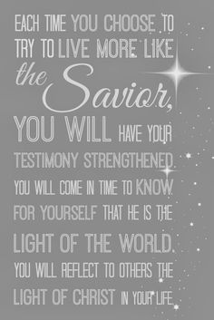 Saviors light, visiting teaching March 2014, LDS message