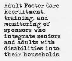 The Adult Foster Care Program is an amazing service we provide for seniors in our community!