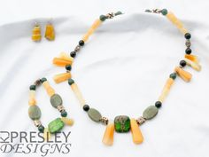 Yellow Agate & Green Jade Jewelry Set by KJPresley Designs  http://www.kjpresleydesigns.com/ #jewelry #necklace #bracelet #earrings @KJPresleyDesgns