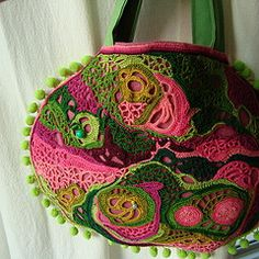 Petite Bag by RosaVerde - crochet    Wow! Love the free form organic feel and my favorite colors!