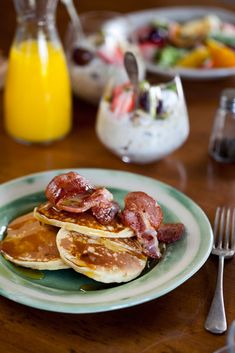 Cornmeal Flapjacks With Bourbon-Bacon Maple Syrup Recipe — Dishmaps