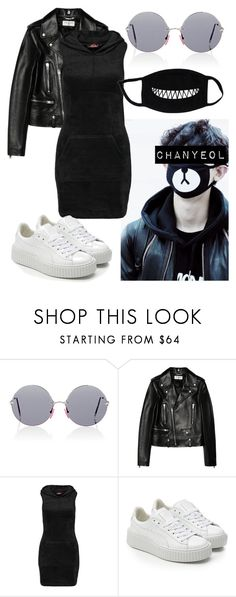 """""""Chanyeol Inspired Outfits"""" by flaviaazevedo2000 ❤ liked on Polyvore featuring Christopher Kane, Yves Saint Laurent, Motel, Puma, kpop, EXO, chanyeol and bias"""