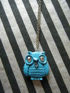 Chubby little Owl with light blue heart blue by indieodyssey, $5.00