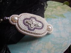 Bead Embroidered Scissor Keep with Crucifix by SharpTomato on Etsy, £20.00