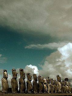 Moai at Rano Raraku volcanic crater, RapaNui,Easter Island