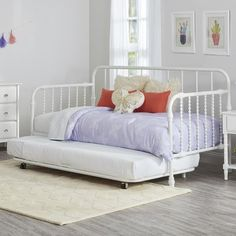 Little Seeds Monarch Hill Metal Twin Daybed with Trundle Finish: White
