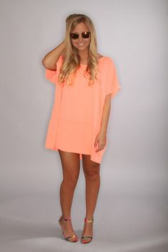 classic keepsake mini dress - neon coral