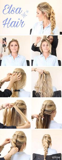 Braids are big, bold and perfect for any look all year long, but you can… Frozen Hair Tutorial, Elsa Braid, Anna Hair, Beach Wave Hair, Beach Waves, Messy Hairstyles, Hair Dos, Medium Hair Styles, Hair Beauty