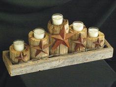 "western barn wood houses   Rustic Barn Wood & Stars Candelabra 18"" - Southwest Decor Previously ..."