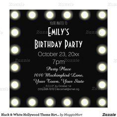 Shop Black & White Hollywood Theme Sweet 16 Birthday Invitation created by MaggieMart. Bridal Shower Cards, Bridal Shower Invitations, Birthday Party Invitations, Birthday Party Themes, Birthday Ideas, Wedding Invitation, Invites, Hollywood Birthday Parties, Hollywood Theme