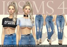 Sims 4 CC's - The Best: Under Bxxb Crop Top & High Waisr Cut Out Jeans by ...