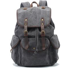 LinsCraft Vintage Travel Canvas Backpack Military Rucksack Casual Daypacks School Bookbags Dark Gray * You can get additional details at the image link.