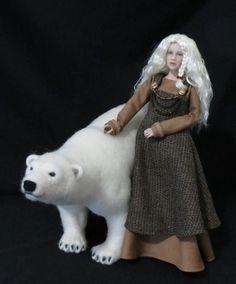 Norwegian Fairy Tale Art Doll and Needle Felted Soft Sculptured Polar Bear  | eBay