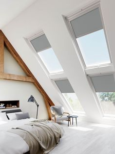 Compatible with Velux® Roof Windows our blackout skylight blinds keep out the light so you can get a good night's sleep and not be disturbed by the late setting or early rising sun. Choosing the right size To select the right size skylight blind you don't actually need to get your tape measure out as roof windows include an identification label that tells you the size. This label is usually found on the top or side of the window when it's open, so as you swing it open take a look at the top and Skylight Bedroom, Skylight Blinds, Blinds For Velux Windows, Skylights, Loft Room, Bedroom Loft, Attic Master Bedroom, Mezzanine Bedroom, Bedroom Decor