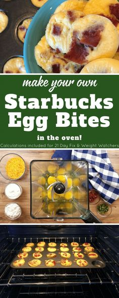 These copycat Starbucks Egg Bites are so delicious and easy to make in the oven!… These copycat Starbucks Egg Bites are so delicious and easy to make in the oven! Save a ton of money by making Starbucks egg bites at home. Starbucks Sous Vide Eggs, Starbucks Egg Bites, Starbucks Recipes, Healthy Starbucks Food, Starbucks Lunch, Starbucks Breakfast, Sous Vide Recipes Eggs, Egg Recipes, Cooking Recipes