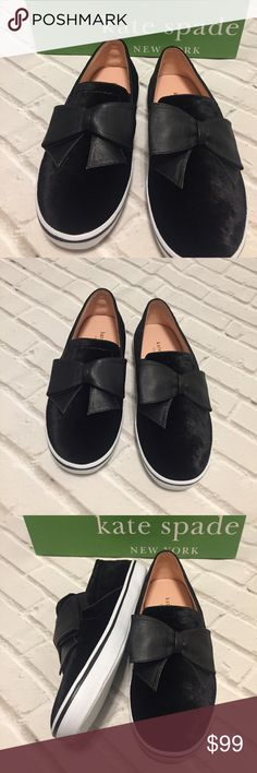 Kate Spade Delise Too Black Velvet Black Bow Shoes NEW Kate Spade Delise Too Black Velvet Black Slip On Sneakers Shoes New in Box Box included! Some dirt may be on the bottom of the soles from being tried on in store / display. Price is firm. No trades. Retail for over $100.  Final price drop. kate spade Shoes Sneakers