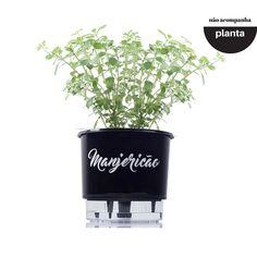 Vaso com reservatório de água (Autoirrigável) Médio Preto Linha Gourmet 16 cm x 14 cm