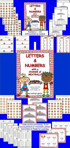 Letters & Numbers with a Chance of Meatballs is a packet of materials to be used in a variety of activities that fit the needs of your children. The 'meatball' theme is intended to relate these activities to the popular book turned movie, Cloudy with a Chance of Meatballs by Judi Barrett. $