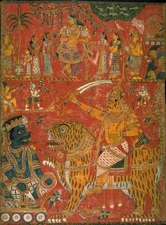 Markendeya purana series: Bhavana on tiger confronts a demon / Rama and Hanuman  Artist Unknown, India, Northern Andhra Pradesh  late18th century