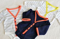 Turn onesies into cardigans! cute idea.