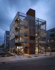 Salmela Architect has completed an office building for a Minneapolis advertising agency featuring a gridded monochrome facade and a monumental fire escape Architecture Antique, Architecture Design, Facade Design, Amazing Architecture, Contemporary Architecture, Design Design, Sustainable Architecture, Urban Design, Landscape Architecture
