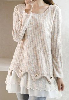 Lace Splicing Knitted Stylish Scoop Neck Long Sleeve Women's Maternity Dress