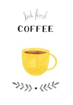 But First Coffee Watercolor Print Coffee by morningswithcoffee