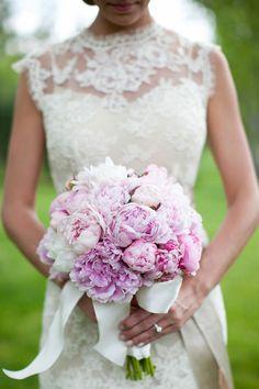 peonies for weddings | illusion sweetheart-neckline wedding dress and pink peonies wedding ...
