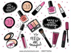 Hand drawn cosmetics set. Nail polish, mascara, lipstick, eye shadows, brush, powder, lip gloss, handwritten lettering