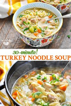 Quick and Easy Homemade Turkey Noodle Soup This Homemade Turkey Noodle Soup recipe is made without a carcass for an easy, healthy dinner that's ready in about 30 minutes! It's the perfect way to use up leftover turkey or leftover chicken this season! Easy Turkey Soup, Slow Cooker Turkey Soup, Homemade Turkey Soup, Turkey Wild Rice Soup, Leftover Turkey Soup, Turkey Noodle Soup, Healthy Leftover Turkey Recipes, Turkey Soup From Carcass, Kitchens