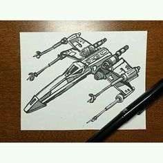 Here's a pretty cool #penandink #Xwing #drawing by @jake.arts! I like the cartoony look that Jake gave to this #StarWars #fanart #illustration. Not sure if it was intentional or if he was just trying to #draw a quick #sketch for #inktober... anyway great drawing!  #CreativeAirship