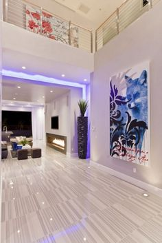 Modern Dream House Design With Led Light Futuristic Interior, Hurtado Residence By Mark Tracy. Use RGB Led Strip Light by Lumilum to obtain the purple light effect