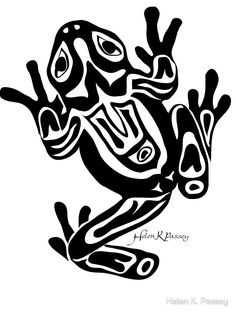 Frog drawn in a North American/Canadian Northwest Coast art-style - Spiritual messengers and bearers of shamanic power, frogs have a mystic place in many native traditions. Native American Symbols, Native American Design, Native Design, American Indian Art, Arte Tribal, Tribal Art, Art Haïda, Tattoo Deus, Doodles Zentangles