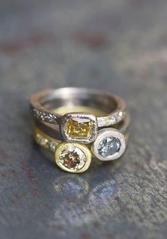 Ring yellow gold and diamonds cognac ............