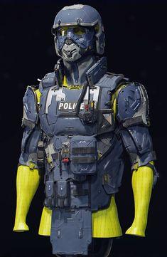 Futuristic Helmet, Futuristic Armour, Armor Concept, Concept Art, Armadura Steampunk, Police Outfit, Sci Fi Armor, Future Soldier, Military Armor