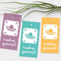"""What a fun way to say, """"muchas gracias!"""" Tiny sombreros tags in 5 colors."""
