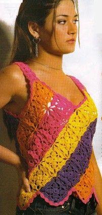 Diagonal Multicolored Stripe Tank Top free crochet graph pattern