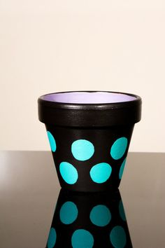 Hand Painted Flower Pot 6 Inch Terracotta Pot by SpicyIceCreams, $17.57