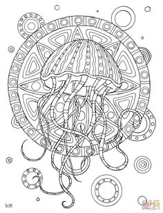 Zentangle Coloring Pages. Select From 28148 Printable Coloring Pages Of  Cartoons, Animals, Nature, Bible And Many More. Jellyfish With Tribal  Pattern