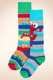 2 Pairs of Thermal Cotton Rich Monster & Striped Welly Socks